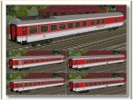 DB IC-Wagen -rosarot- Epoche V, Set 1