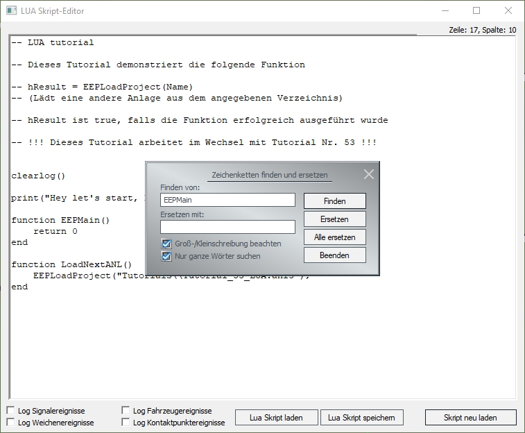 Verbesserter Lua-Editor: Volltextsuche, Textersetzung uvm. im Plug-In 1 zu EEP 15.1